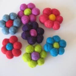 Felt Ball Flower Brooches
