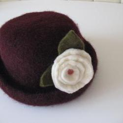 Chocolate Brown knitted Felt Hat